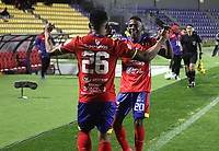 PASTO - COLOMBIA,18-11-2020:Esneider Mena del Deportivo  Pasto celebra después de anotar el primer gol de su equipo durante el partido entre Deportivo Pasto y el Independiente Medellín  por la fecha 15 de la Liga BetPlay DIMAYOR I 2020 jugado en el estadio estadio La Libertad de la ciudad de Pasto. /Esneider Mena of Deportivo Pasto celebrates after scoring the first goal of his team during match between Deportivo Pasto and Independiente Medellin for the date 15 BetPlay DIMAYOR League I 2020 played at La Libertad stadium in Pasto city city. Photo: VizzorImage / Leonardo Castro / Cont