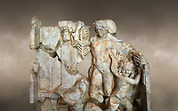 Close up of a Roman Sebasteion relief  sculpture of Agon Aphrodisias Museum, Aphrodisias, Turkey.  Against an art background.<br /> <br /> The scene is an allegory of the athletic contest (or agon). The pillar was a beareded head of Hermes the god of the Gymnasium. Nearby is a palm of victory and a prize table with victory ribbon on it. Two winged baby Eros figures are struggling over a palm branch ( mostly broken): they act out the idea of contest, which is personified in the youthful figure behind. He hold another palm of victory: he is Agon himself.
