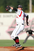 Salem-Keizer Volcanoes pitcher Brandon Allen #30 pitches against the Spokane Indians at Volcanoes Stadium on August 10, 2011 in Salem-Keizer,Oregon. Salem-Keizer defeated Spokane 7-6.(Larry Goren/Four Seam Images)