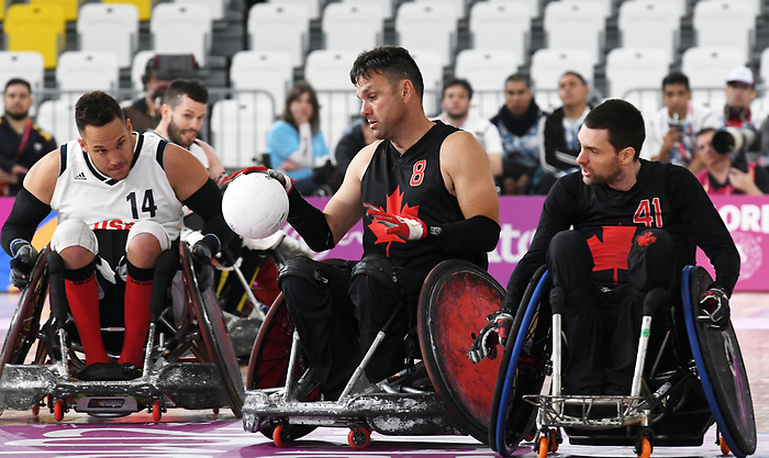 Mike Whitehead and Eric Rodriques, Lima 2019 - Wheelchair Rugby // Rugby en fauteuil roulant.<br /> Canada takes on the USA in wheelchair rugby // Le Canada affronte les États-Unis au rugby en fauteuil roulant. 27/08/2019.