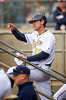 Montgomery Biscuits manager Brady Williams (22) during a game against the Jackson Generals on April 29, 2015 at Riverwalk Stadium in Montgomery, Alabama.  Jackson defeated Montgomery 4-3.  (Mike Janes/Four Seam Images)