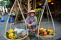 Vietnam, South Central Coast, Hoi An, Fruit seller in the old town