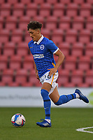 Haydon Roberts of Brighton & Hove Albion (U23s) in action during the EFL Trophy behind closed doors match between Leyton Orient and Brighton & Hove Albion Under 21s at the Matchroom Stadium, London, England played without supporters able to attend due to ongoing covid-19 government guidelines on 8 September 2020. Photo by Vince  Mignott.