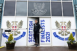 The city of Perth shows it's support for St Johnstone ahead of Saturdays Scottish Cup Final against Hibs at Hampden... 21.05.21<br />St Johnstone captain Jason Kerr pictured with newly branded front doors at McDairmid Park ahead of saturday's Scottish Cup Final against Hibs.<br />Picture by Graeme Hart.<br />Copyright Perthshire Picture Agency<br />Tel: 01738 623350  Mobile: 07990 594431