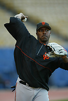 Jeffery Hammonds of the San Francisco Giants during a 2003 season MLB game at Dodger Stadium in Los Angeles, California. (Larry Goren/Four Seam Images)