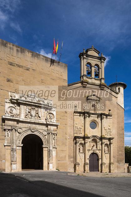 Espagne, Navarre, Pampelune: Musée de Navarre situé dansl'ancien hôpital de Nuestra Señora de la Misericordia, dont on ne conserve seulement que le portail principal et l'intérieur de la chapelle. //  Spain, Navarre, Pamplona: Museo de Navarra, museum,