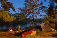 """""""Crooked Lake Camp"""" <br /> <br /> Evening campfires in the wilderness provide relaxing time for contemplation and inspiration. ~ Day 179 of Inspired by Wilderness: A Four Season Solo Canoe Journey."""