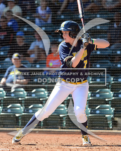 Michigan Wolverines Softball utility player Kelsey Susalla (7) at bat during a game against the Bethune-Cookman on February 9, 2014 at the USF Softball Stadium in Tampa, Florida.  Michigan defeated Bethune-Cookman 12-1.  (Copyright Mike Janes Photography)