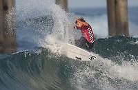 Huntington Beach, CA - Sunday August 06, 2017: Ricardo Christie during a World Surf League (WSL) Qualifying Series (QS) Quarterfinal heat in the 2017 Vans US Open of Surfing on the South side of the Huntington Beach pier.
