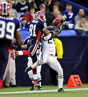 3 December 2009: Buffalo Bills' wide receiver Terrell Owens is unable to pull in a pass during a game against the New York Jets at the Rogers Centre in Toronto, Ontario, Canada. The Bills fell to the Jets 19-13. Mandatory Credit: Ed Wolfstein Photo