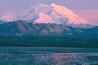 Thorofare River<br />   and Mount McKinley<br /> Denali National Park<br /> Alaskan Range,  Alaska