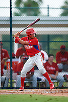 GCL Phillies third baseman Jose Antequera (9) at bat during a game against the GCL Pirates on August 6, 2016 at Pirate City in Bradenton, Florida.  GCL Phillies defeated the GCL Pirates 4-1.  (Mike Janes/Four Seam Images)