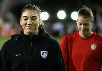 BOCA RATON, FL - DECEMBER 15, 2012: Hope Solo (1) and Nicole Barnhart (18) of the USA during an international friendly match against China at FAU Stadium, in Boca Raton, Florida, on Saturday, December 15, 2012. USA won 4-1.