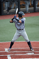 Carter Trice (4) of the Old Dominion Monarchs at bat against the Charlotte 49ers at Hayes Stadium on April 23, 2021 in Charlotte, North Carolina. (Brian Westerholt/Four Seam Images)