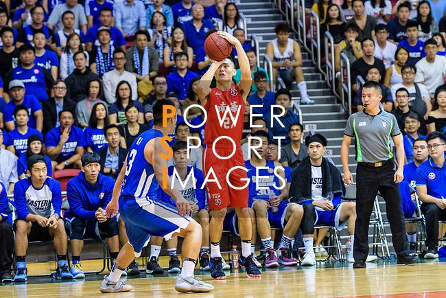 Tsai Choi Kwan #27 of SCAA Men's Basketball Team (R) in action during the Hong Kong Basketball League 2018 match between SCAA v Eastern Long Lions on August 10, 2018 in Hong Kong, Hong Kong. Photo by Marcio Rodrigo Machado/Power Sport Images