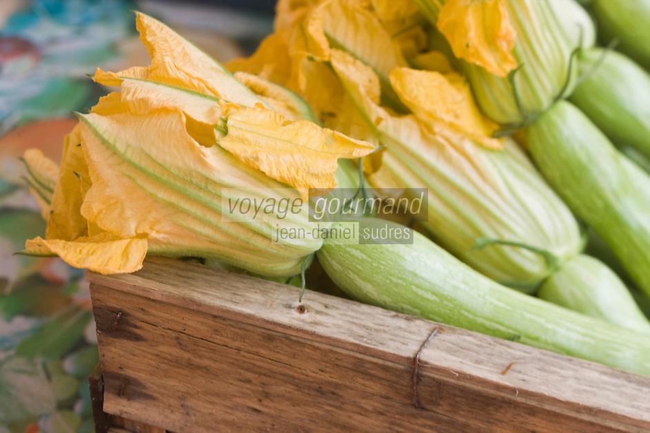 Europe/France/Provence-Alpes-Côte d'Azur/06/Alpes-Maritimes/Nice:  Fleurs de Courgettes sur un étal du marché du Cours Saleya