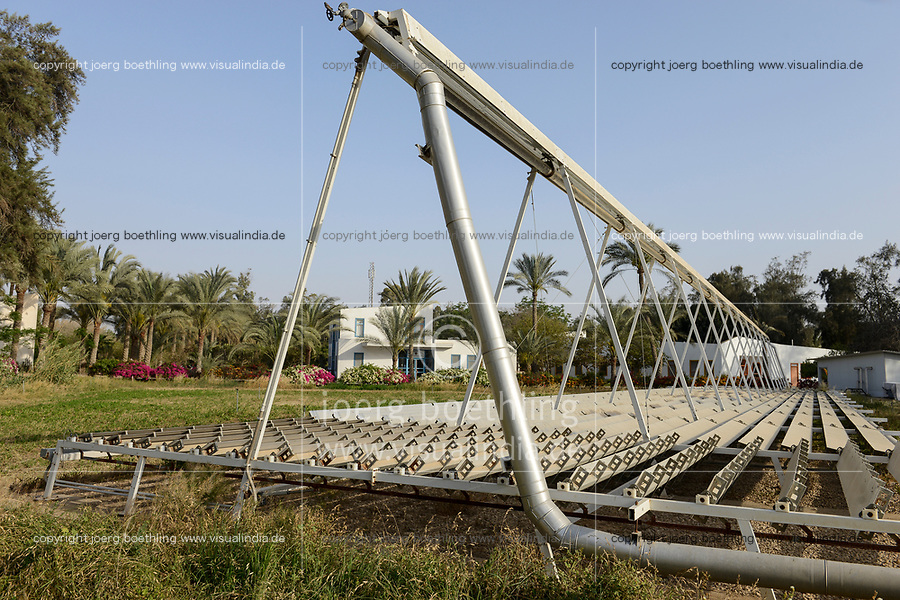 EGYPT, Bilbeis, Sekem organic farm, desert farming, renewable energy, solar thermal unit  / AEGYPTEN, Bilbeis, Sekem Biofarm, Landwirtschaft in der Wueste, solarthermische Anlage