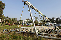 EGYPT, Bilbeis, Sekem organic farm, desert farming, renewable energy, solar thermal unit  / AEGYPTEN, Bilbeis, Sekem Biofarm, Landwirtschaft in der Wueste, solarthermische Anlage