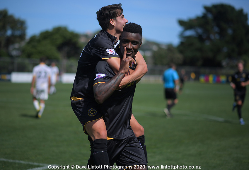 Jack-Henry Sinclair celebrates Joao Moereira's goal during the ISPS Handa Premiership football match between Team Wellington and Eastern Suburbs at David Farrington Park in Wellington, New Zealand on Sunday, 1 March 2020. Photo: Dave Lintott / lintottphoto.co.nz