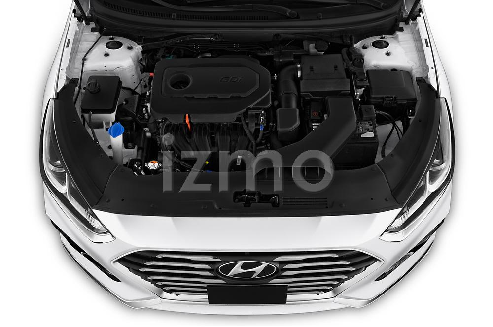 Car Stock 2019 Hyundai Sonata SE 4 Door Sedan Engine  high angle detail view