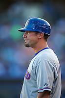 Midland RockHounds manager Ryan Christenson (7) during a game against the Tulsa Drillers on June 2, 2015 at Oneok Field in Tulsa, Oklahoma.  Midland defeated Tulsa 6-5.  (Mike Janes/Four Seam Images)