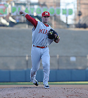 RHP Nathan Williams (35) of the Miami (Ohio) Redhawks pitches in a game against the Furman Paladins on Sunday, February 17, 2013, at Fluor Field at the West End in Greenville, South Carolina. Furman won, 6-5. (Tom Priddy/Four Seam Images)