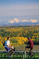 University of Alaska students enjoy skyline of mount Hayes, the Alaska mountain range, over Fairbanks, Alaska.