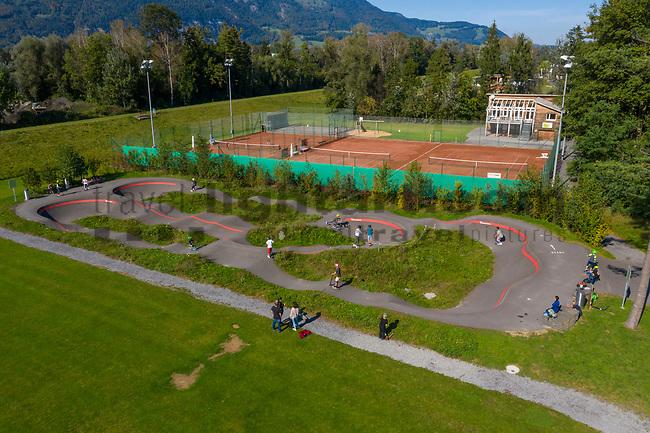 Drohnenaufnahme: Liechtenstein.<br /> Ruggell, Pumptrack- und Tennisanlage.<br /> Foto: ©Paul J. Trummer