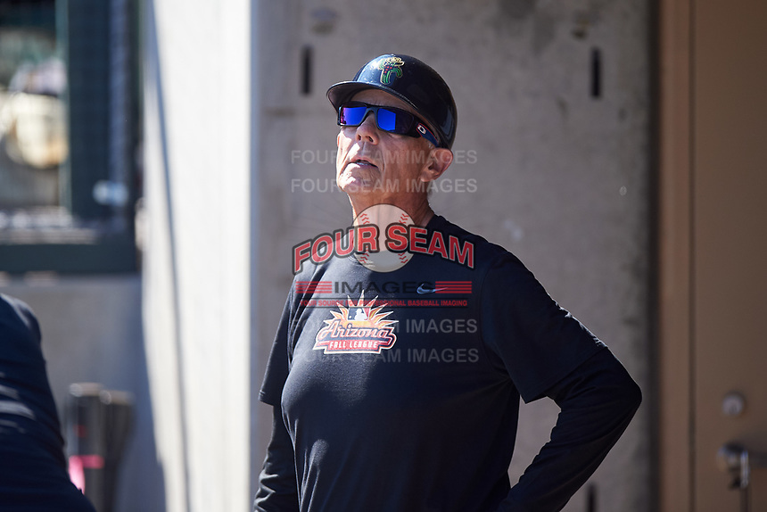 Surprise Saguaros bat boy Danny Wood during the Arizona Fall League Championship Game against the Salt River Rafters on October 26, 2019 at Salt River Fields at Talking Stick in Scottsdale, Arizona. The Rafters defeated the Saguaros 5-1. (Zachary Lucy/Four Seam Images)