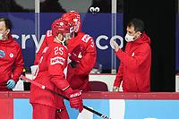 22nd May 2021, Riga Olympic Sports Centre Latvia; 2021 IIHF Ice hockey, Eishockey World Championship, Great Britain versus Russia;  Mikhail Grigorenko Russia celebrates as he makes the score 2-0