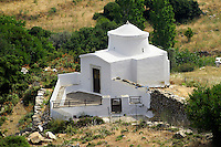 Byzantine church near Apirathos Hill Top Village, Naxos, Greek Cyclades Islands