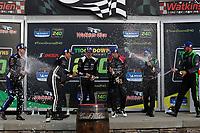 #82 BimmerWorld Racing BMW M4 GT4, GS: James Clay, Devin Jones, #35 Riley Motorsports Mercedes-AMG, GS: James Cox, Dylan Murry, Jeroen Bleekemolen, #39 Carbahn Motorsports Audi R8, GS: Tyler McQuarrie, Jeff Westphal, podium, champagne