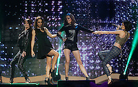 20/11/131<br /> B*Witched (L-R) Lindsay Armaou ,Lindsay Armaou and Sisters Edele  and Keavy Lynch pictured performing at the Cheerios Childline Concert at the O2 Dublin this eveningð. <br /> Pic Collins Photos