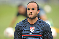 Landon Donovan (10) of the USMNT during pe-game warmups.  The USMNT defeated El Salvador 5-1 at the quaterfinal game of the Concacaf Gold Cup, M&T Stadium, Sunday July 21 , 2013.