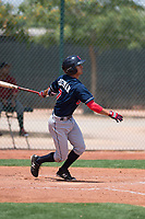 Cleveland Indians shortstop Tyler Freeman (7) follows through on his swing during an Extended Spring Training game against the Arizona Diamondbacks at the Cleveland Indians Training Complex on May 27, 2018 in Goodyear, Arizona. (Zachary Lucy/Four Seam Images)