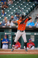 Norfolk Tides Mason Williams (9) bats during an International League game against the Buffalo Bisons on June 21, 2019 at Sahlen Field in Buffalo, New York.  Buffalo defeated Norfolk 2-1, the first game of a doubleheader.  (Mike Janes/Four Seam Images)