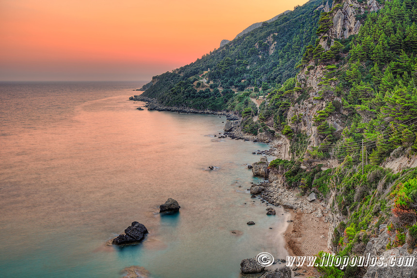 The sunset at Myrtiotissa beach of Corfu, Greece