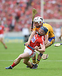 Conor Cleary of Clare in action against Conor Lehane of Cork during their Munster senior hurling final at Thurles. Photograph by John Kelly.