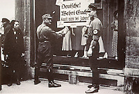 """Nazi Culture:  Brownshirts boycotting the N. Israel Department Store, 1933. """"Germans, Restrain Yourselves.""""  Reference only."""