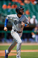 Biloxi Shuckers third baseman Lucas Erceg (17) runs to first base during a game against the Montgomery Biscuits on May 8, 2018 at Montgomery Riverwalk Stadium in Montgomery, Alabama.  Montgomery defeated Biloxi 10-5.  (Mike Janes/Four Seam Images)