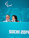 Sochi, RUSSIA - Mar 10 2014 -  Joe Rea and Wendy Morgan look on during Canada vs USA in Wheelchair Curling round robin play at the 2014 Paralympic Winter Games in Sochi, Russia.  (Photo: Matthew Murnaghan/Canadian Paralympic Committee)
