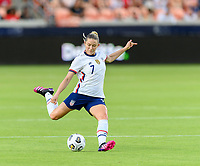 HOUSTON, TX - JUNE 10: Abby Dahlkemper #7 of the United States takes a shot at the Portugal goal during a game between Portugal and USWNT at BBVA Stadium on June 10, 2021 in Houston, Texas.