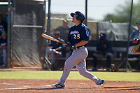 Milwaukee Brewers second baseman Keston Hiura (25) follows through on his swing during an Instructional League game against the San Diego Padres on September 27, 2017 at Peoria Sports Complex in Peoria, Arizona. (Zachary Lucy/Four Seam Images)
