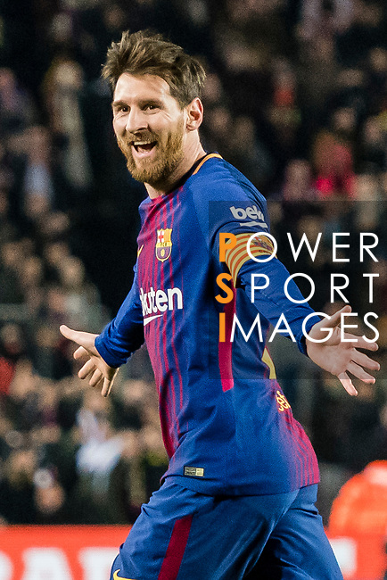 Lionel Andres Messi of FC Barcelona celebrates after scoring his goal during the La Liga 2017-18 match between FC Barcelona and Girona FC at Camp Nou on 24 February 2018 in Barcelona, Spain. Photo by Vicens Gimenez / Power Sport Images