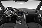 Stock photo of straight dashboard view of a 2019 Chevrolet Corvette ZR1 3 Door Targa