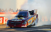 Sept. 2, 2011; Claremont, IN, USA: NHRA funny car driver Melanie Troxel during qualifying for the US Nationals at Lucas Oil Raceway. Mandatory Credit: Mark J. Rebilas-