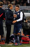 Juergen Klinsmann (l, USA), Fabian Johnson  (re, USA), during the friendly match Italy against USA at the Stadium Luigi Ferraris at Genoa Italy on february the 29th, 2012.