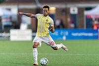 HARTFORD, CT - AUGUST 17: AJ Paterson #20 of Charleston Battery passes the ball during a game between Charleston Battery and Hartford Athletic at Dillon Stadium on August 17, 2021 in Hartford, Connecticut.