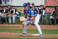 Matt Jones (40) of the Ogden Raptors on defense against the Grand Junction Rockies in Pioneer League action at Lindquist Field on July 5, 2015 in Ogden, Utah. Ogden defeated Grand Junction 12-2.  (Stephen Smith/Four Seam Images)