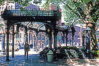 Seattle: Pioneer Square---Pergola Trolley Shelter, Cast-iron and glass. J.F. Everett, 1909.  Photo '86.